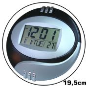 Relógio de Parede e Mesa com Alarme Termômetro PRETO CBRN02085