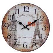 Relógio de Parede Retro Rústico Vintage Retro BIG BEN & TORRE EIFEL CBRN01927