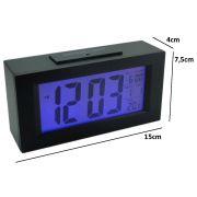 Relógio Mesa Digital Data/hora Temperatura sensor luz PRETO CBRN01583
