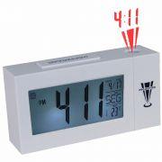 Relogio projetor de horas digital com termometro alarme branco CBRN02818