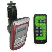 Transmissor FM Mp3 Pen Drive Cart�o Sd Fly Ace A-100 Vermelho