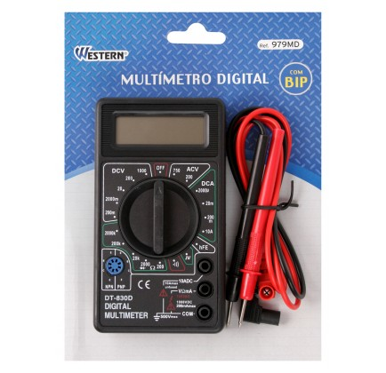 Multímetro Digital com Bip Acompanha Pontas de Prova Western DT830D