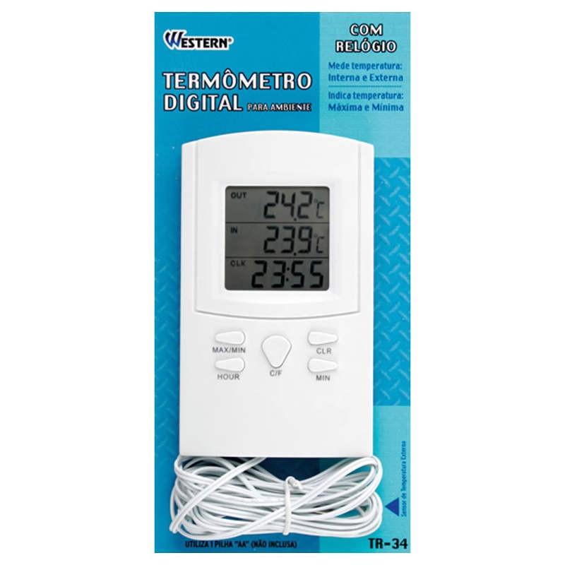 Termômetro Digital de Máxima e Mínima para Temperatura Interna e Externa Western TR-34