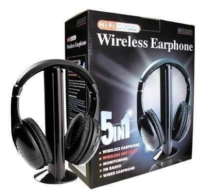 Fone de Ouvido Multimidia com Microfone sem Fio Wireless 5 em 1 para TV DVD MP3 PC
