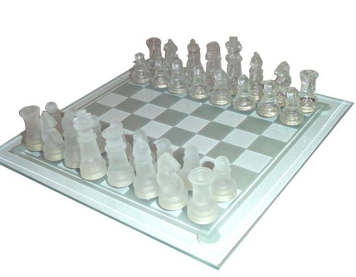 Jogo Tabuleiro de Xadrez em Vidro - Transparente x Jateado - 20x20cm