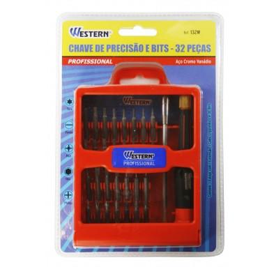 Chave de Precisão e Bits - 32 Peças - Aço Cromo Vanádio - Western - 132W