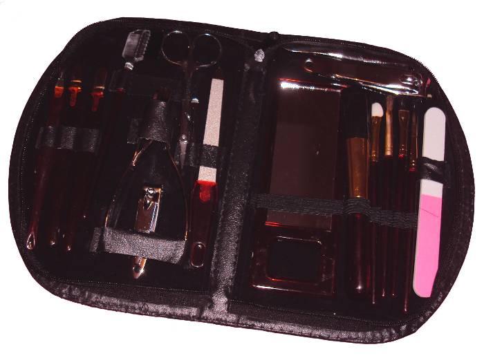 Conjunto de Acessórios para Unhas e Maquiagem em Estojo com Zíper - Apex - MS-013