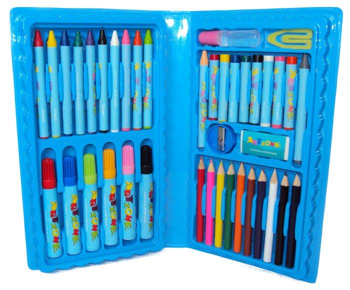 Estojo Maleta Escolar de Lápis, Caneta Hidrocor, Giz de Cera e Outros Itens com 48 Peças Menino Azul GD048