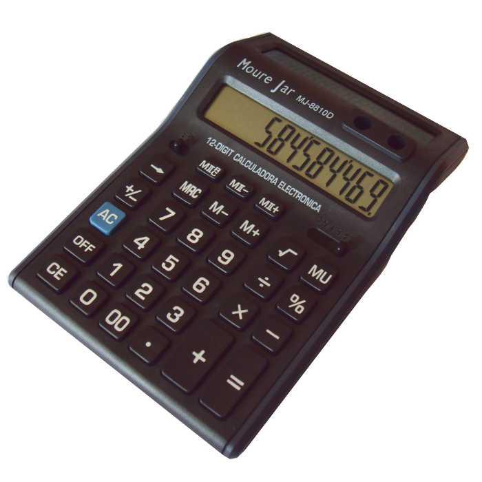 Calculadora de Mesa a Bateria - Display Duplo de 12 Dígitos - Moure Jar - MJ-8810D