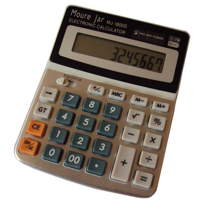Calculadora de Mesa a Bateria e Solar - 12 Dígitos - Moure Jar - MJ-1800S
