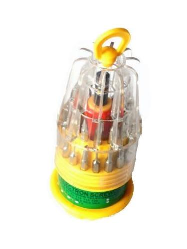 Kit de Chaves de Precisão com 31 Peças Chaves Allen, Torx, Philips, e Fenda Para Manutenção de Celulares e Eletrônicos - ID-6038