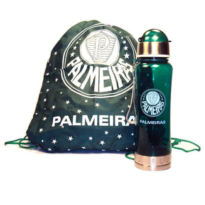 Kit Cantil Squeeze Plástico com Tampa do Palmeiras com Sacola do Palmeiras - Produto Licenciado - QH006A-3