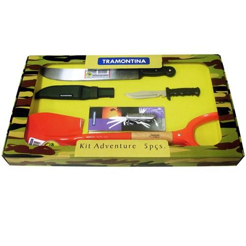 Kit Adventure com 5 Peças - Canivete Multiuso com 14 Funções, Facão, Faca Esporte, Bainha e Pá de Bico - Tramontina