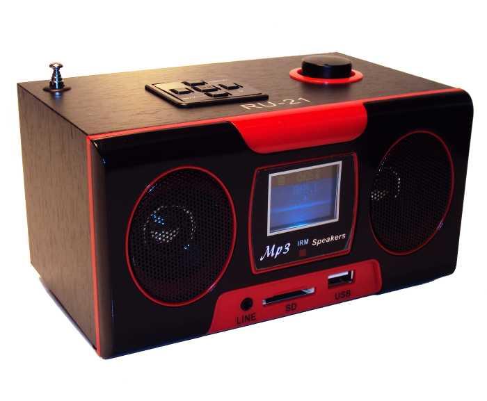 Caixa de Som Recarregável com Rádio FM - Toca MP3 do Pendrive ou Cartão de Memória SD com Controle Remoto - RU-21