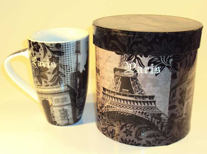 Caneca de Porcelana com Tema Paris em Caixa para Presente