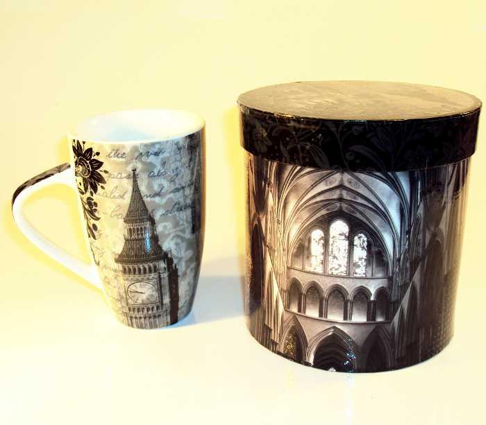 Caneca de Porcelana com Tema London - Londres em Caixa para Presente
