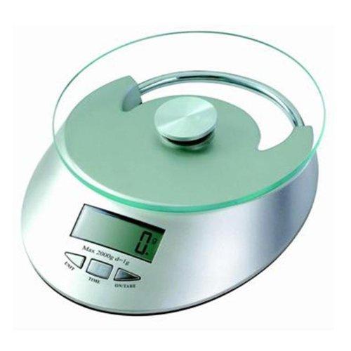 Balança Digital para Cozinha com Bandeja Redonda de Vidro - Pesa até 5Kg com Divisão de 1g- QE-KE-4