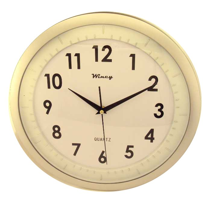 Relógio de Parede Redondo com Fundo Liso e Borda Prata - 35cm de Diâmetro - Rocie Wincy - ML-5482