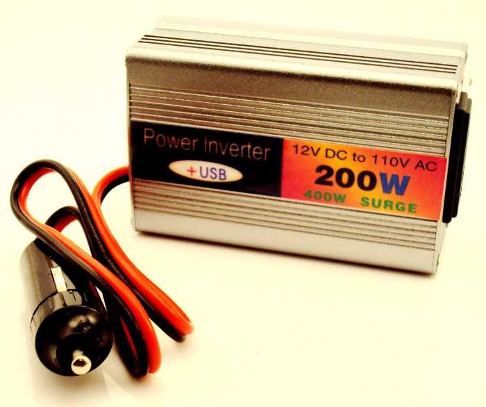 Inversor Transformador Conversor de 12V para 110V + 1 Porta USB 5V com 200W