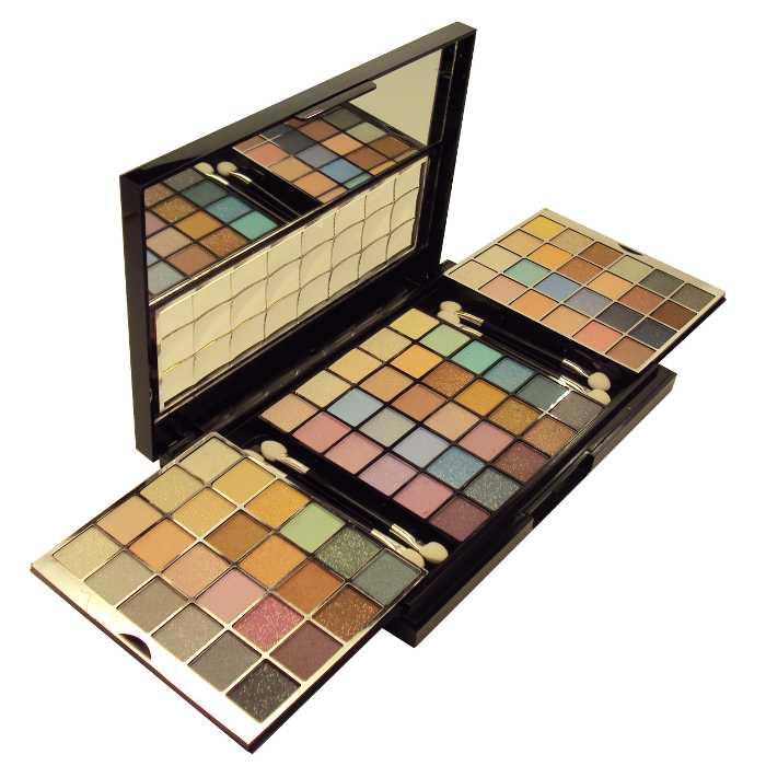 Kit Conjunto de Sombras com 78 Sombras e 4 Pincéis em Estojo com Espelho - Ruby Rose - HB-2590