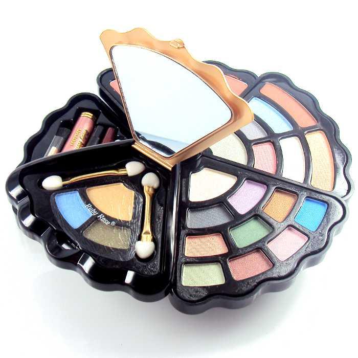 Kit Conjunto de Maquiagem com Blush, Sombras, Brilho para Lábios, Delineador para Olhos e Lábios Ruby Rose HB-2500G