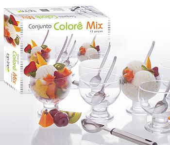 Conjunto para Sobremesa como Sorvete, Salada de Fruta e Doces em Vidro com Pegador de Sorvete em Inox - Colorê Mix - 13 Peças - Top Line UD