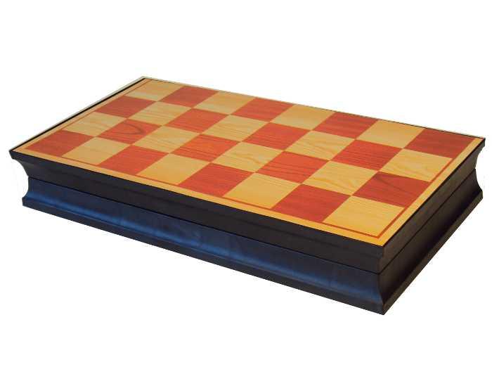 Tabuleiro para Jogo de Dama Xadrez e Gamão com Peças Imantadas e Tabuleiro que Vira Estojo para Guardar com Fecho de Imã - 3213M-2