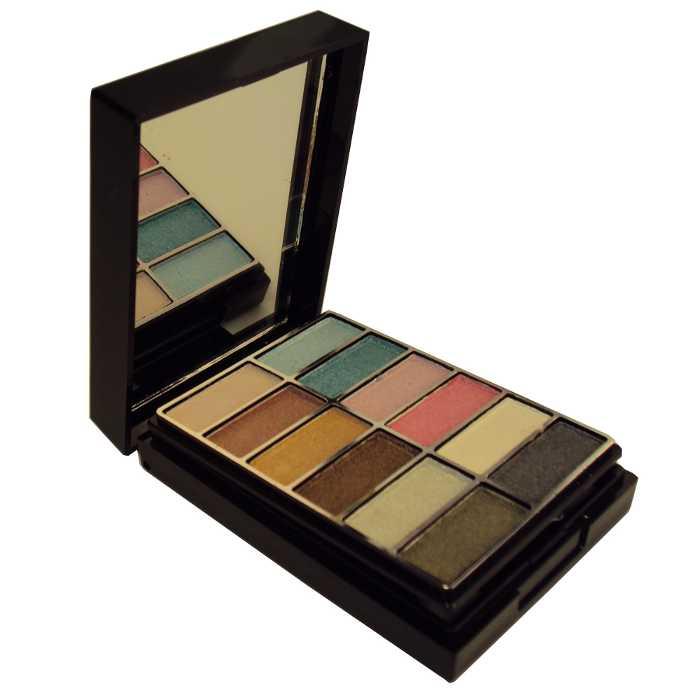 Conjunto Kit de Maquiagem com Blush e Sombra Estojo com Espelho e Pincéis - Ruby Rose - HB-575