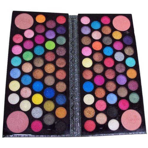 Kit Estojo de Maquiagem 88 Itens 84 Sombras Com Efeito 3D e 4 Blush em Forma de Carteira Preta Jasmyne V952A