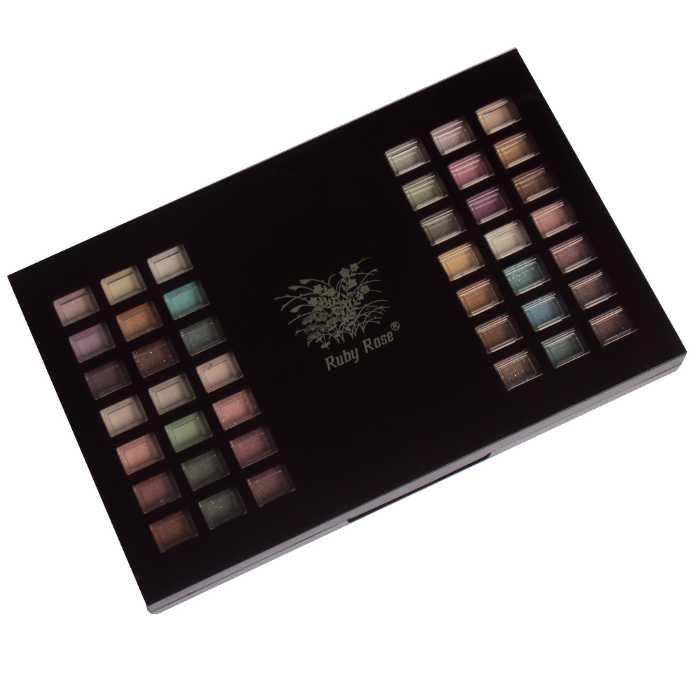 Kit Conjunto de Sombras com 82 Sombras, 2 Pós Compactos, 4 Blushes e 4 Pincéis em Estojo com Espelho - Ruby Rose - HB-3626B