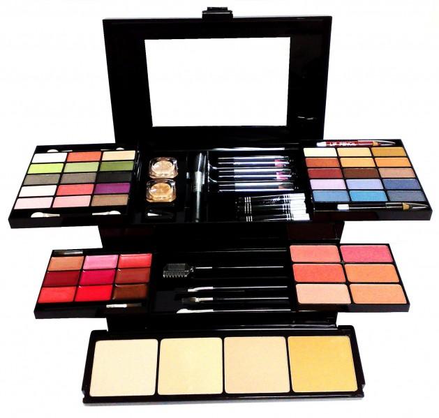 Conjunto Kit de Maquiagem Estojo Completo com Sombra, Batons, Pincéis, Delineadores e Outros - Jasmyne - V023