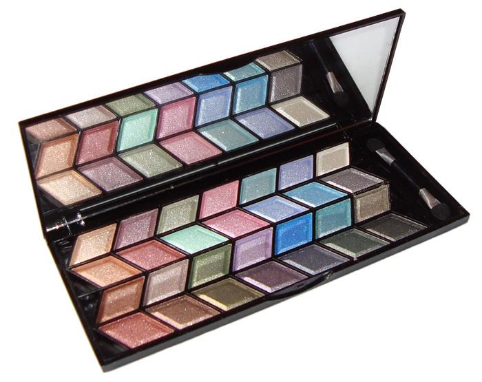 Conjunto Kit de Sombras com 28 Sombras 3D em Estojo de Maquiagem com Espelho Jasmyne V913