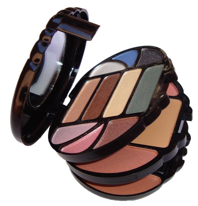 Conjunto de Maquiagem com Sombras Blush e Pó, Delineador, Estojo com Espelho e Pinceis - Ruby Rose - HB-3620