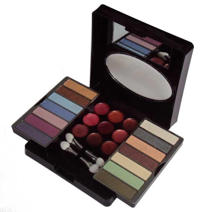 Conjunto Kit de Maquiagem com Sombra e Batom Estojo com Espelho e Pincéis - Ruby Rose - HB-3824