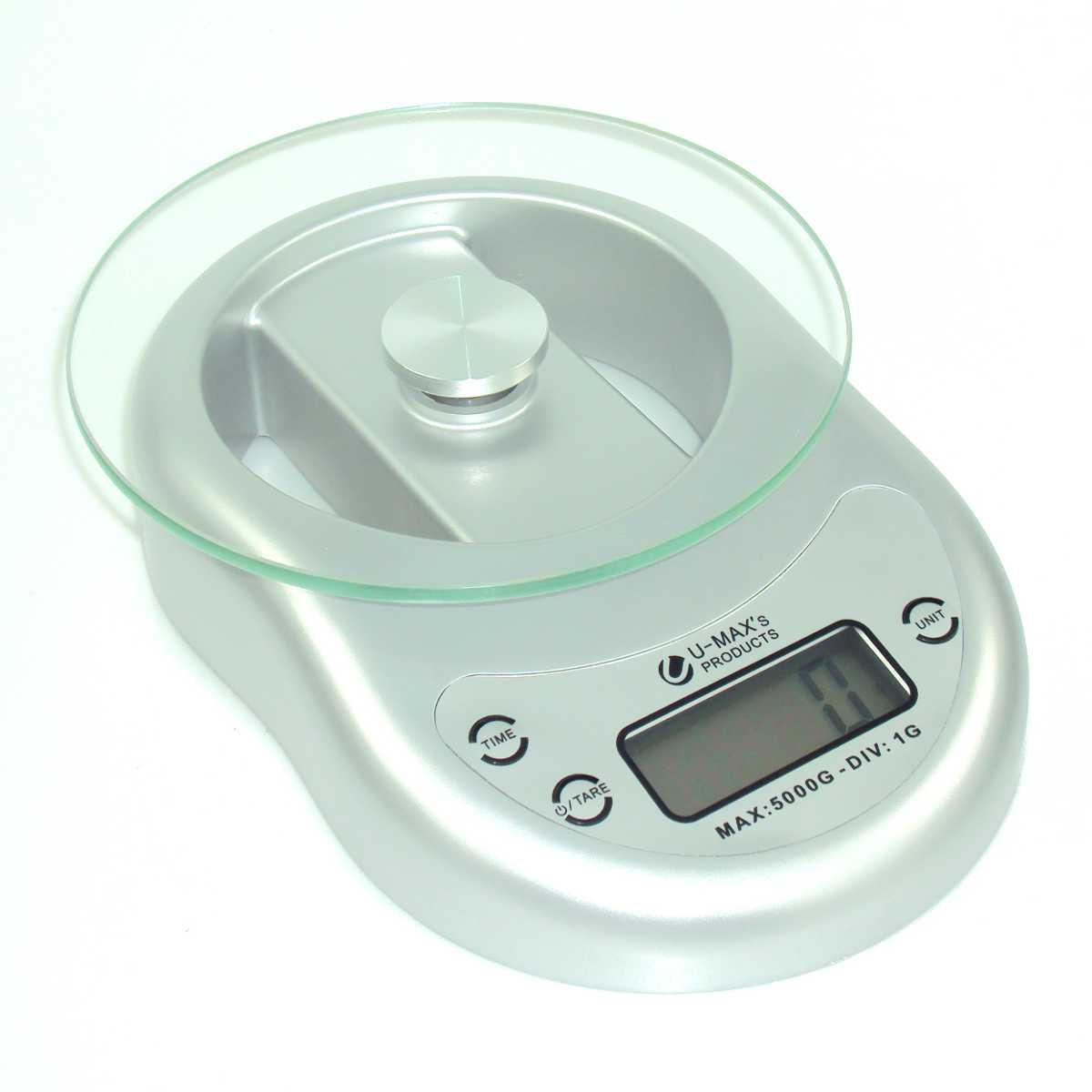 Balança de Cozinha com Bandeja em Vidro com Relógio Digital Capacidade 5Kg Divisão de 1g Prata EK-1