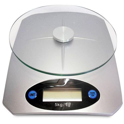 Balança de Cozinha Digital com Bandeja em Vidro com Capacidade 5Kg Divisão de 1g KE-05