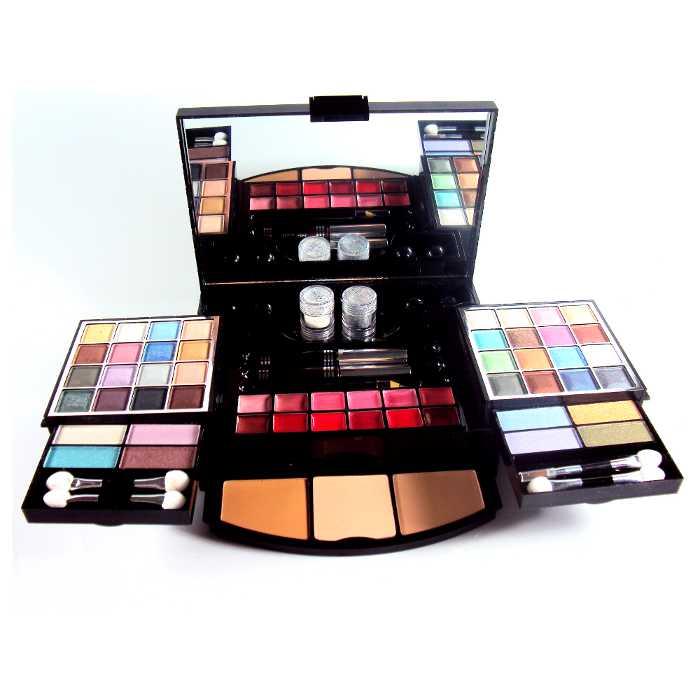 Estojo de Maquiagem com 70 Itens com Sombra, Pó, Batons em Estojo Luxo Ruby Rose HB-5005B