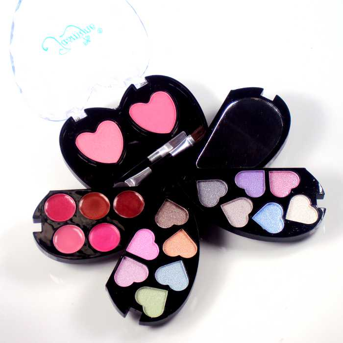 Estojo de Maquiagem em Forma de Coração com Sombra Blush e Batom Jasmyne V610