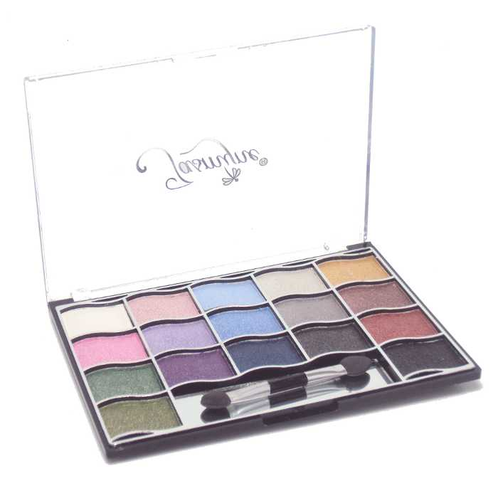 Estojo de Maquiagem Paleta com 17 Sombras Pincel Duplo e Espelho Jasmyne V716