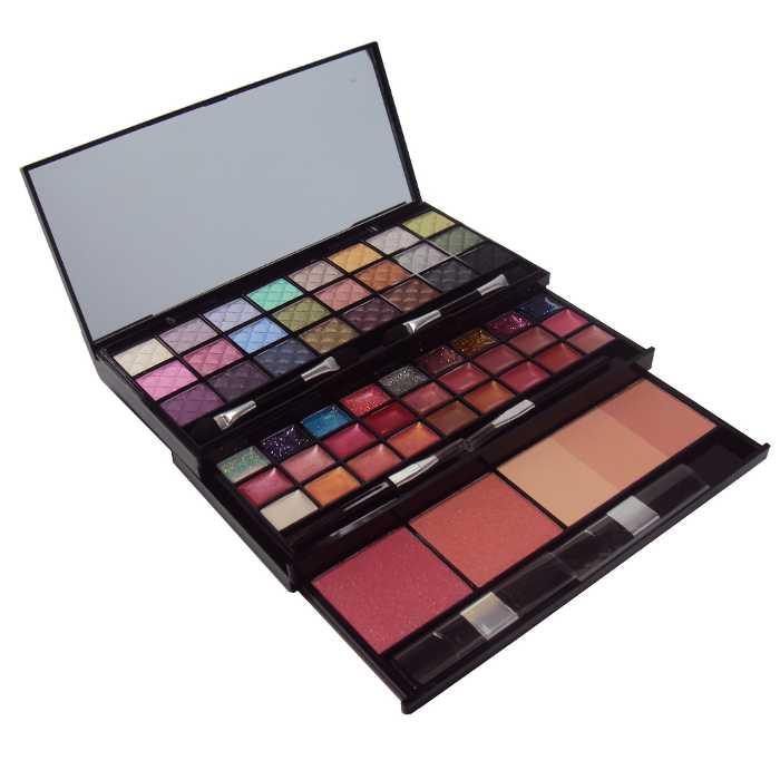 Estojo de Maquiagem Completo 56 Itens Sombra, Blush, Sombra Cremosa, Batom e Pó Facil Jasmyne V322