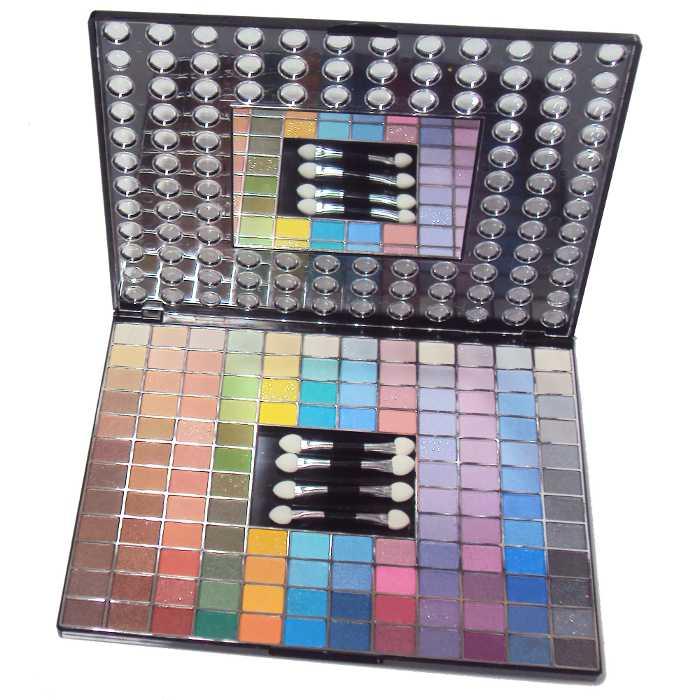Estojo de Sombras com 128 Cores com Pincéis para Aplicação de Maquiagem Ruby Rose HB-2602