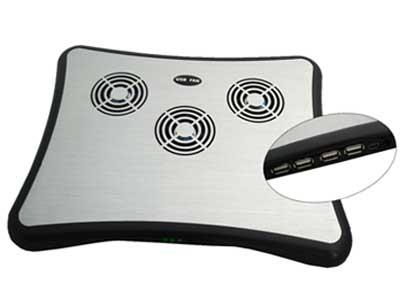 Cooler Suporte para Notebook Acabamento em Alumínio Resfria com 3 Ventoinhas de 6cm de Diâmetro Com Alimentação e HUB USB 734