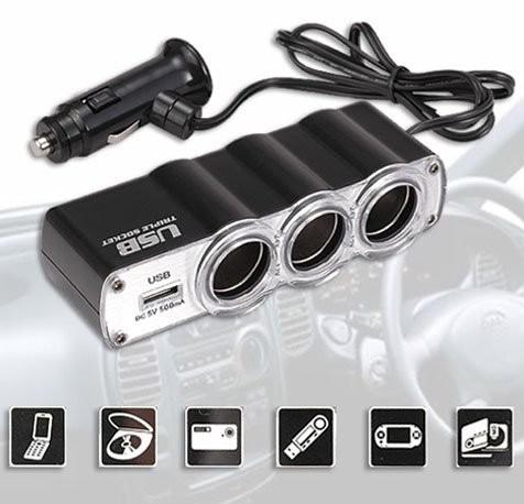 Triplicador para Acededor de Cigarros para Carro com USB Carregador WF-0120