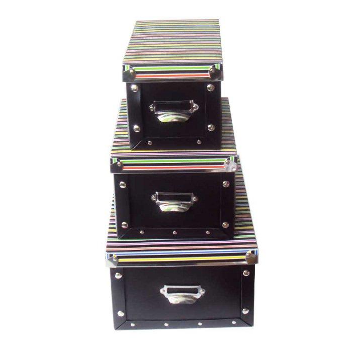 Caixas Organizadoras Conjunto 3 Peças Preta com Tampa Listrada em Polipropileno 2011