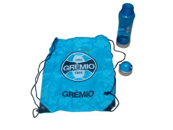 Kit Cantil Squeeze Plástico com Tampa do Grêmio com Sacola do Grêmio Produto Licenciado QH006A-14