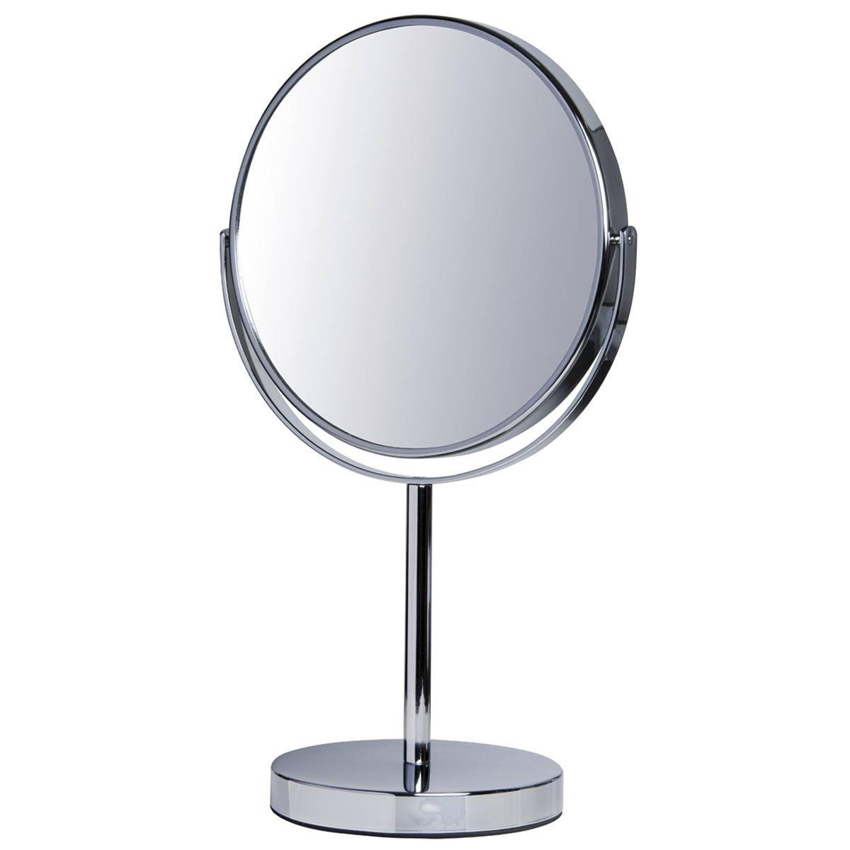 Espelho Duplo com Aumento 5x e Normal com Pedestal Cromado Fashion Beauty JM831