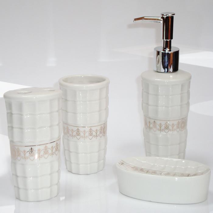Kit para Banheiro em Porcelana 4 Peças Saboneteira, Porta Escovas, Copo JRB138