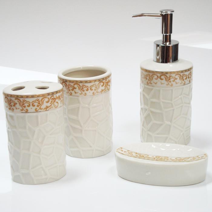 Kit para Banheiro em Porcelana 4 Peças Saboneteira, Porta Escovas, Copo JRB131
