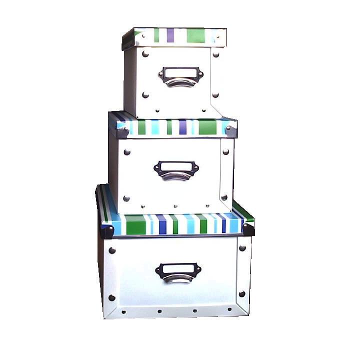 Caixas Organizadoras Conjunto 3 Peças Branca com Tampa Listrada em Polipropileno 2011