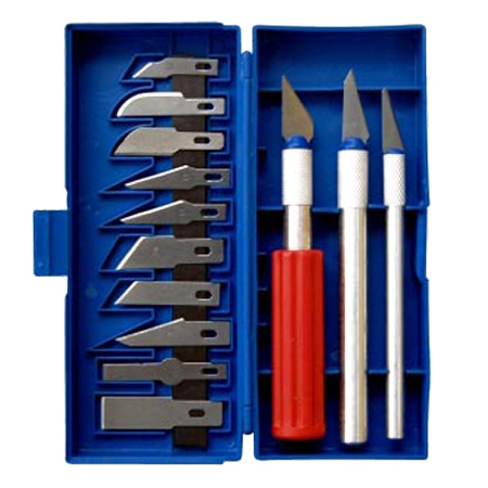 Kit Estilete com Lâminas Cambiáveis e Suporte 13 Peças Lee Tools 683814
